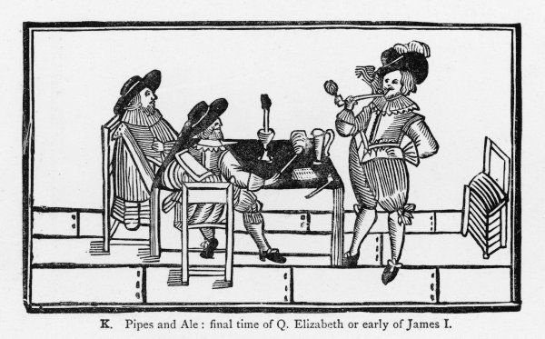 A men's smoking party in late Elizabethan/early Jacobean times