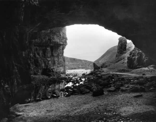 Smoo Cave, near Durness, Sutherland, Scotland, a famous cave which goes 150 feet into a limestone rock. Date: 1950s
