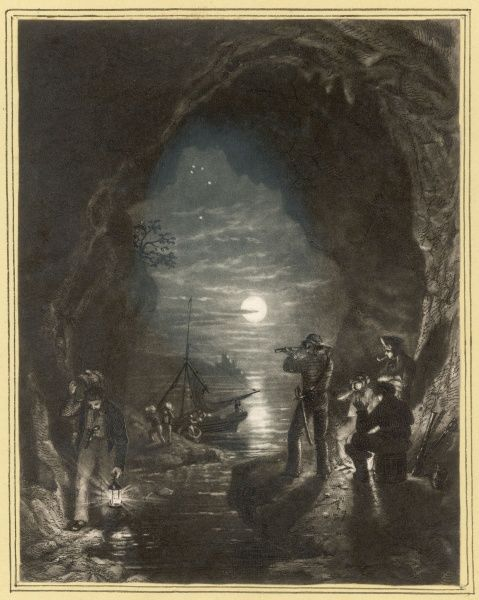 A band of smugglers unload their cargo of contraband into a secluded coastal cave, constantly checking for any nearby customs men