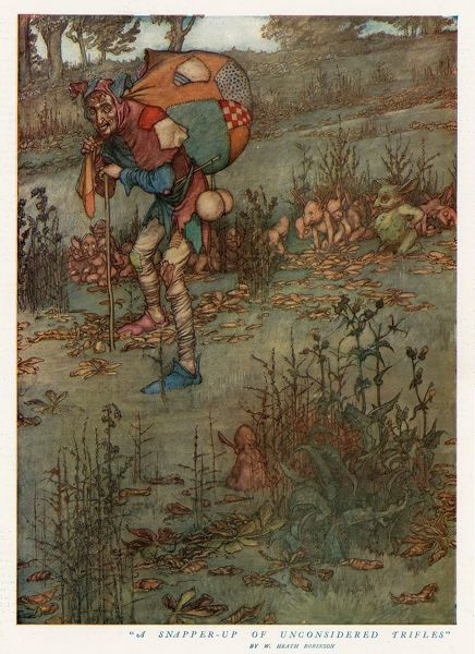 Detailed colour illustration by William Heath Robinson (1872-1910) for the Midsummer number of the Graphic showing an elf, or possibly goblin in a fantastical country setting