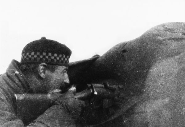 Captain Moorhouse of the 2nd Argyll and Sutherland Highlanders sniping at Bois Grenier on the Western Front in France during World War I in November 1914
