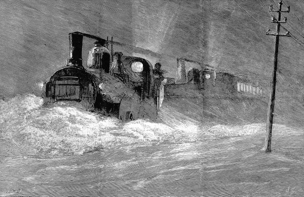 Disruption of the railway traffic during the first week of March 1886. The North Eastern railway service from Newcastle to Edinburgh was cancelled after a train travelling from Edinburgh was snowed up at Acklington