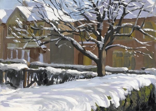 Snow in a Mill Hill Garden, resting on the top of the hedges, roofs and trees. Oil painting by Raymond Sheppard