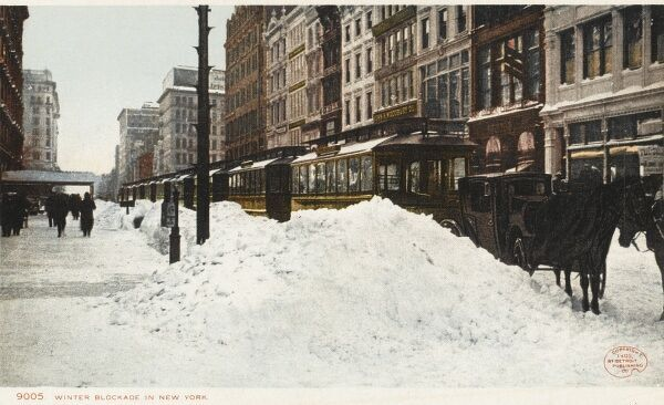 Tram stuck in the snow in winter in New York, America