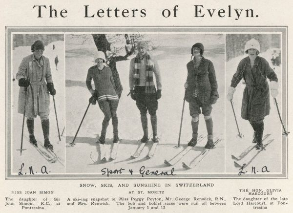 Miss Joan Simon, Miss Peggy Peyton, Mr George Renwick, R.N., Mrs Renwick and The Hon. Olivia Harcourt skiing at St. Moritz, Switzerland