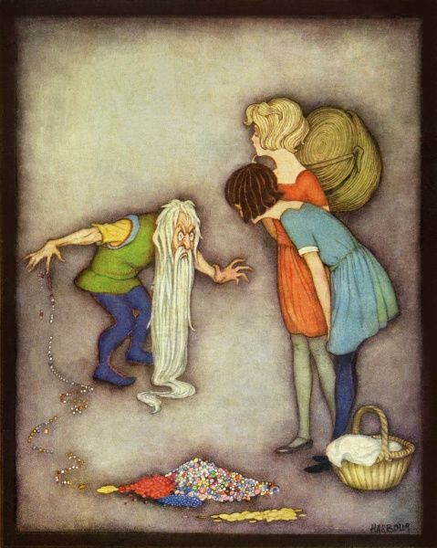 Snow White & Rose Red by Jennie Harbour. The wicked dwarf spills his treasure Date: circa 1925