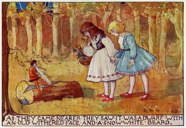 From Snow White & Rose Red by Katharine Cameron. Cameron was a Glasgow born illustrator and an associate of Jessie M King and the Mackintoshes