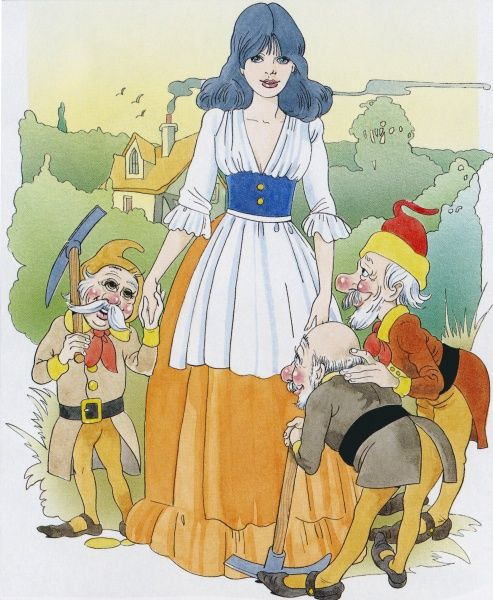Snow White and three of the Seven Dwarfs, on a country road with a cottage in the background