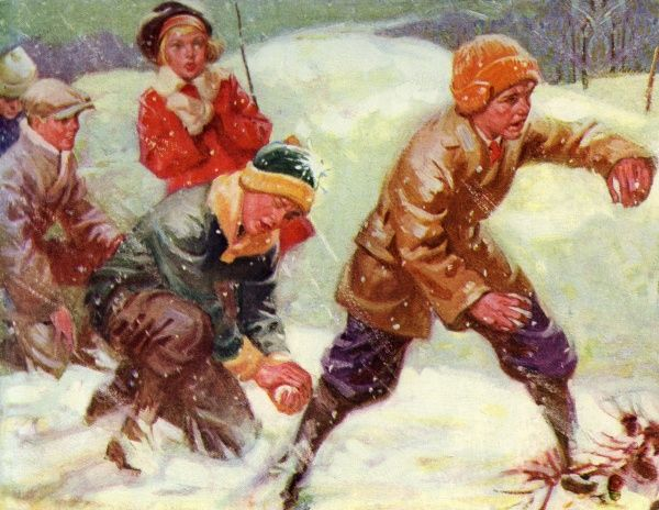 A group of children take advantage of deep snow and indulge in a snowball fight. The boys at the front look as if they mean business