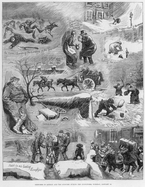 Engraving showing a number of scenes in London, during an unusually heavy snowstorm in the city on 18th January 1881