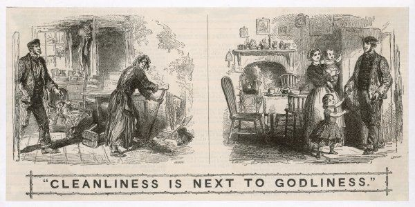 A rather moralistic illustration entitled: 'Cleanliness is next to Godliness&#39