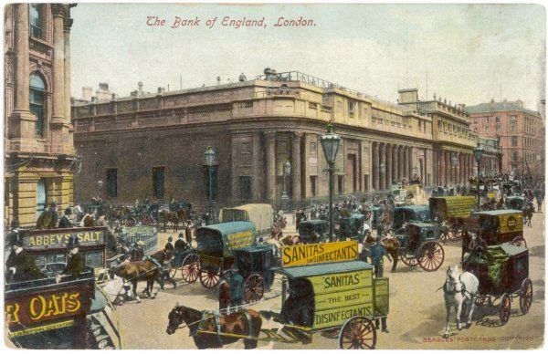 People, horses and carts outside the Bank of England, City of London