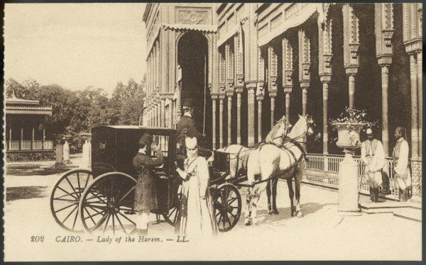 A lady of the harem with her carriage at Cairo
