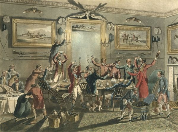 A group of gentlemen at a rather lively drinking party. Date: 1818