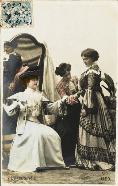 A young French woman visits her dressmaker
