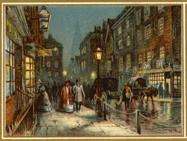 A gas-lit London street at the commencement of Victoria's reign