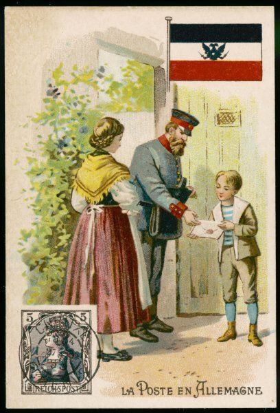 A German postman hands a sealed letter to the son of the house while his mother watches