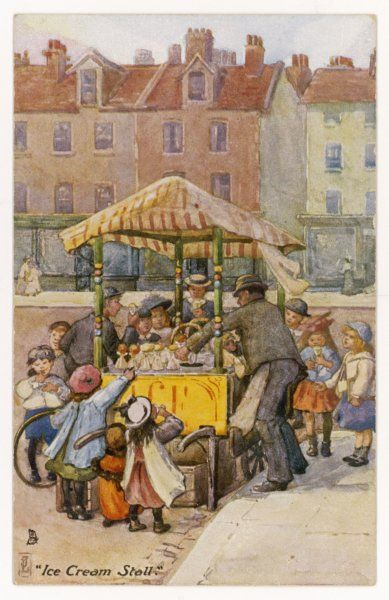 An ice cream vendor is kept very busy with orders from the children flocking around his stall Date: circa 1900