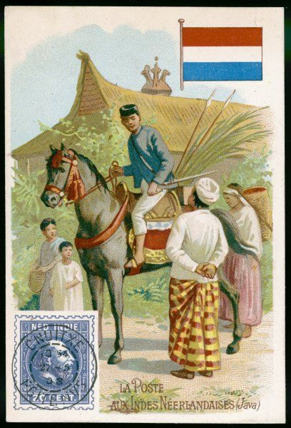 A Javanese postman travels from village to village on horseback