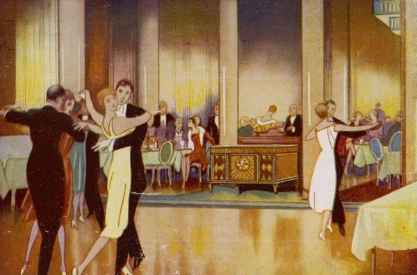 Elegant people in a dance hall Date: 1930
