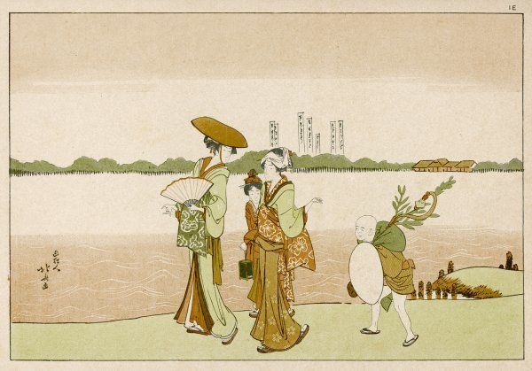 A widow and her daughters walk on the banks of the Sumida, on their way back from market, with a boy hired to carry their purchases