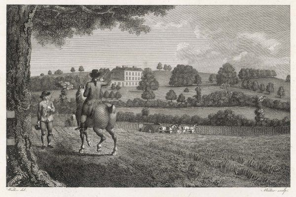 A gentleman farmer on his horse at Knight's Hill, Surrey, seat of Lord Thurlow. The farm labourer carries a harvest barrel