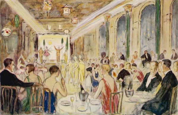 Elegant people dining at the Midnight Follies, Mayfair, London