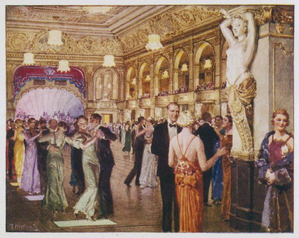 People dancing in the sumptuous Palace Ballroom, Blackpool