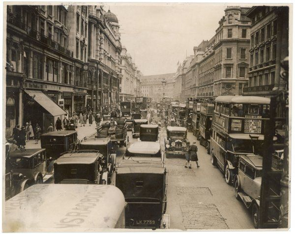 The hustle and bustle of 1930s central London, with traffic at a virtual standstill on Regent Street