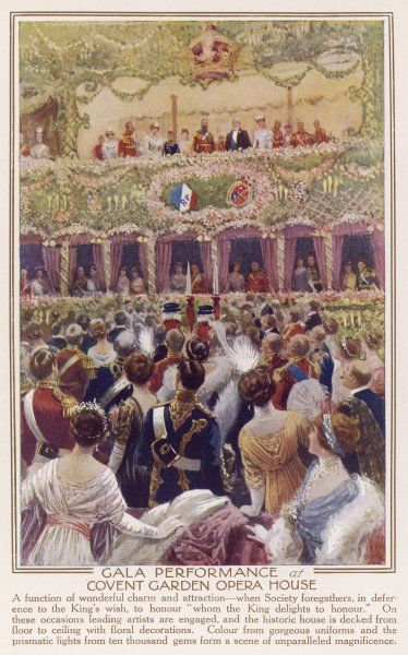 A gala performance at the Royal Opera House, Covent Garden, with the King and Queen in the Royal Box