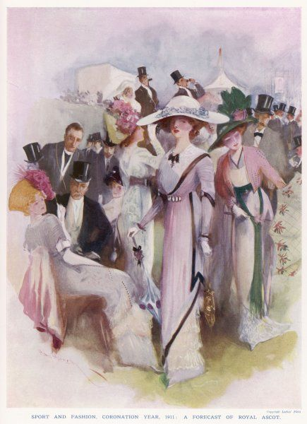 A group of smartly dressed men and women enjoying a day out at Ascot