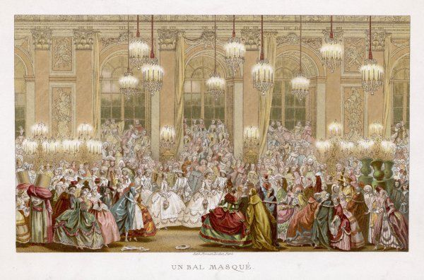A bal masque in the Galerie des Glaces, Chateau de Versailles, celebrating the marriage of the Dauphin Louis to Maria Teresa, Infanta of Spain