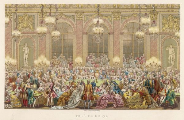 A gaming evening in the Galerie des Glaces, Chateau de Versailles, celebrating the marriage of the Dauphin Louis to Maria Teresa, Infanta of Spain