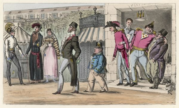 The British in Paris after the first defeat of Napoleon : English visitors in the Palais Royal