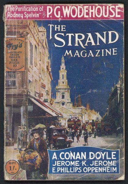 A scene in The Strand, London: a flower girl, passers-by, a car and an open-top bus animate the scene