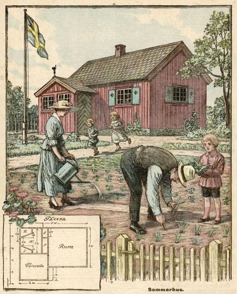 A Swedish family enjoy their 'Sommarhus' (summer house) a second home in the country, where the kids can play and Dad can do his back in planting veggies