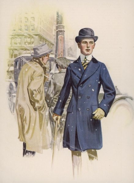 Young American wears a half- length blue double-breasted overcoat with velvet collar, broad lapels, cuffs & pocket flaps, a bowler hat & a high detachable collar & cravat