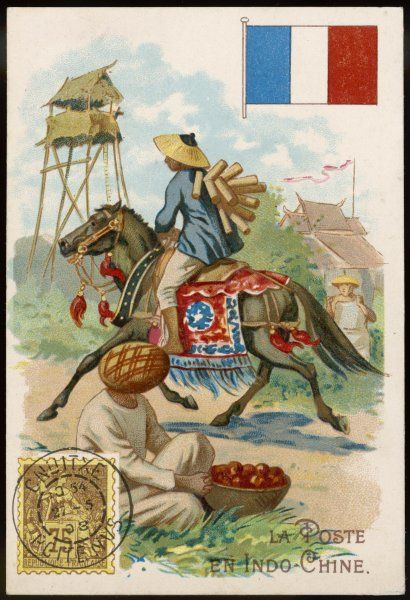 In Vietnam (French Indo-China) the postman delivers the mail on horseback, travelling from village to village