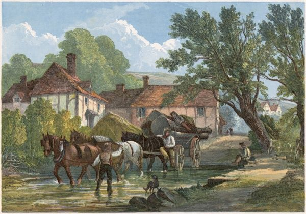 A horse and cart fording the village stream, at Sutton, Surrey