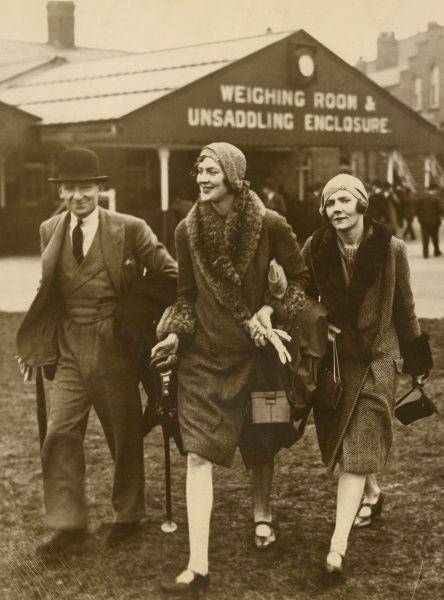 Society at Grand National Meeting at Aintree - 28th March, 1930. Mr Bailey, Lady Ursula Filmer and Lady Serena James at the meeting. Date: 1930
