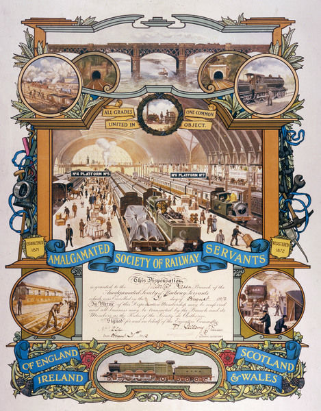 A wonderfully illustrated commemorative certificate, conferring the rail workers of Market Rasen into membership of the Amalgamated Society of Railway Servants