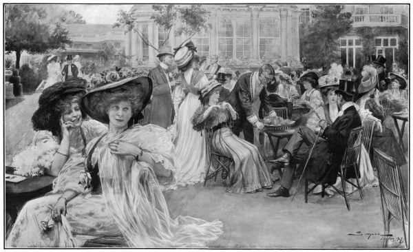 Outdoor scene at the Ranelagh Club in Barnes. Ranelagh was a social club and pleaure garden where society could meet and participate in activities such as polo, gymkhanas or childrens' plays. This particular scene shows a crowd of ladies