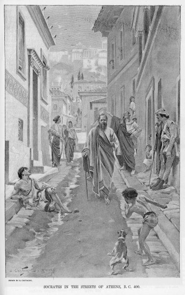 A depiction of the philosopher Socrates walking through the streets of ancient Athens