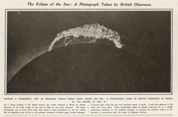 The eclipse of the sun - a photograph taken by British observers in Brazil, showing the prominence, like an explosion, which passed around the sun