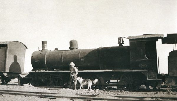 A soldier and his dog inspecting a sabotaged train, somewhere in Iraq