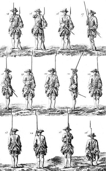 Military training step by step : An 18th century French soldier puts his sword back to his side, puts his musket on his left shoulder and kneels down. Date: Circa 1760