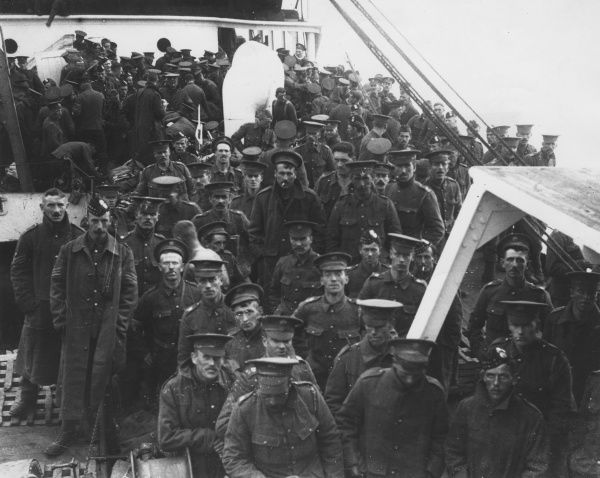 Men of the 2nd Scots Guards and the 2nd Gordon Highlanders on board the SS Lake Michigan during the First World War. Date: 6 October 1914