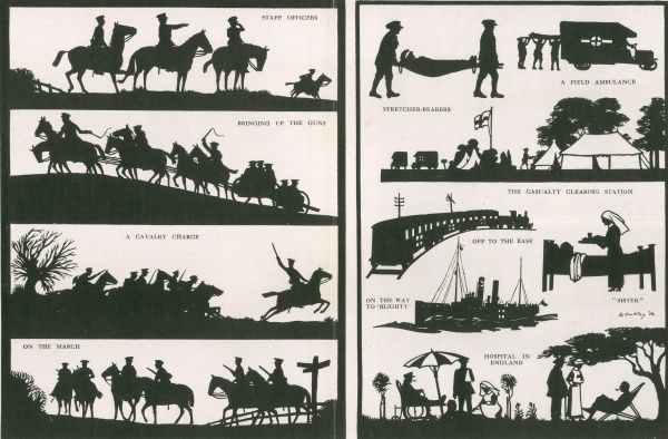 A series of intricate images by silhouette artist, H. L. Oakley showing scenes on the Western Front in a mounted regiment followed by the transportation of an injured officer to hospital and from there to peaceful recuperation in a garden at home