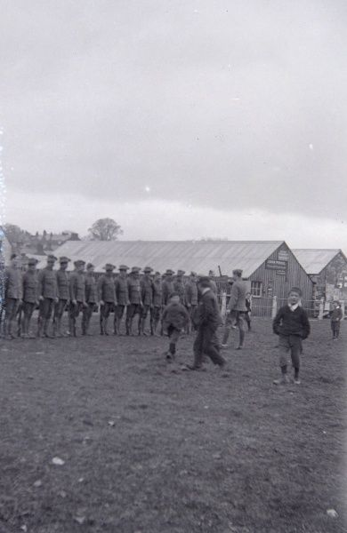 Soldiers on parade in Jubilee Gardens, Haverfordwest, Pembrokeshire, Dyfed, South Wales, around the time of the outbreak of the First World War