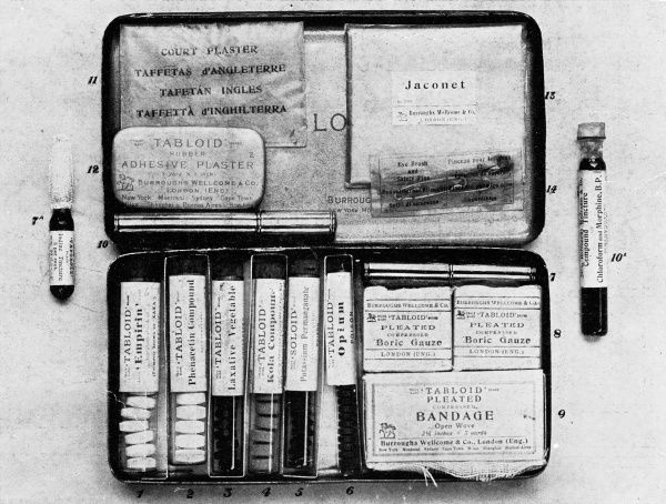 Medical equipment in a handy portable case made for soldiers, war correspondents, airmen and explorers